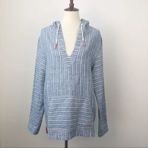Tommy Bahama Blue Striped Linen Top with Hood Sz M
